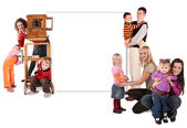 Family with old camera and wall for text collage — Stock Photo