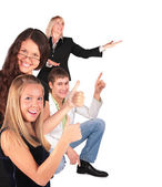 Group gesturing showing — Stock Photo