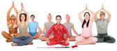 Yoga group collage — Stock Photo