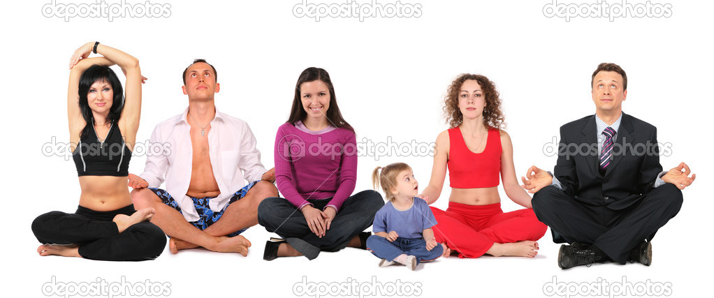 Yoga group with child, collage — Stock Photo #7451538