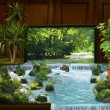 Tv interior and waterfall collage - Stockfoto