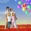 Family of four in red field and balloons collage - Stock Photo