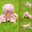 Many pictures of girl in on grass, collage — Foto de Stock