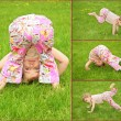 beaucoup de photos de jeune fille en herbe, collage — Photo