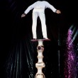 Moscow - February 22: equilibrist skillfully balances in circus — Stock Photo