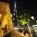 Burj Dubai skyscraper and fountain turned off night time general — Stock Photo #7936472