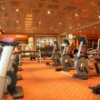 Large gym hall with running tracks, exercise bicycle and dumbbel — Foto Stock