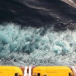 Stock Photo: Escape boats with yellow roof on cruise ship view from above