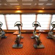 Large gym hall with exercise bicycle near window in cruise ship — Stock Photo