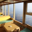 Room for rest with sofas and tables near window in cruise liner — Stock Photo