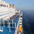 Cruise ship deck with blue floor in ocean view from above — Stock Photo