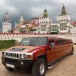 Kremlin in Izmailovo Moscow and red limousine with khokhloma pat - Stock Photo