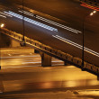 Night city with bridge and lighting columns road traffic with tr - Stock Photo