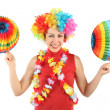 Young beauty woman in clown wig, flower garland and multicolored — Stock Photo #7937033