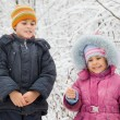 Cheerful boy and little girl with Bengal fire in hand in winter — Stock Photo