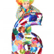 Boy in clown dress with balloon shape six isolated on white back — Stock Photo #7938634