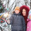 Near christmass tree — Stockfoto