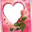 Heart frame with rose flower collage — Stok fotoğraf