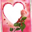 Heart frame with rose flower collage — Stockfoto