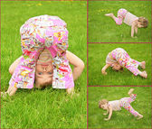 Many pictures of girl in on grass, collage — Stock Photo