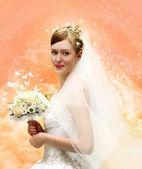 Bruid met boeket collage — Stockfoto