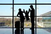 Silhouette of parents holding their child for hands standing nea — Stock Photo