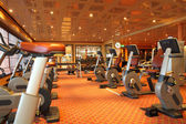 Large gym hall with running tracks, exercise bicycle and dumbbel — Stock Photo