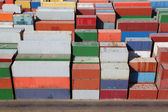 Multicolored containers for cargo transportation on ship — Stock Photo