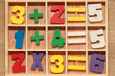 Game for junior age with colored wooden numbers arithmetic opera — Stock Photo