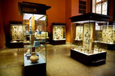 Museum exhibits of ancient relics in glass cases — Stockfoto