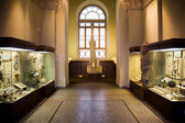 Museum exhibits of ancient relics in glass cases, big window in — Stockfoto