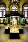 Museum exhibits of ancient relics in glass cases against big win — Stockfoto