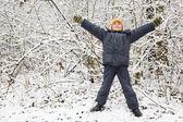 Muchacho levantó las manos hacia arriba en madera en invierno — Foto de Stock