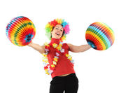 Young beauty woman in clown wig, flower garland and multicolored — Stok fotoğraf