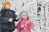 Ragazzo allegro e bambina con petardo nelle mani in inverno in w — Foto Stock
