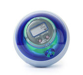 Blue power gyro ball, training simulator for hand, isolated on w — Foto de Stock