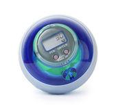 Palla di giroscopio potere blu, formazione simulatore per mano, isolato su w — Foto Stock