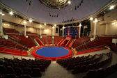 Blue circle arena in circus white lamps turned on, general view — Stock Photo