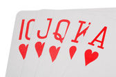 Playing cards of colour of hearts isolated on white background, — Stock Photo