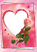 Heart frame with rose flower collage — Stock Photo