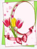 Marco de retrato con tulipanes collage — Foto de Stock