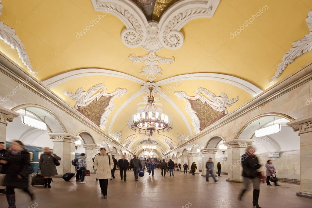 Moscow, Russia, March 23, 2010: Metro station Komsomolskaya with in Moscow.Moscow metro stations have very beautiful architectural design.Moscow, Russia,  Stock Photo #7936063