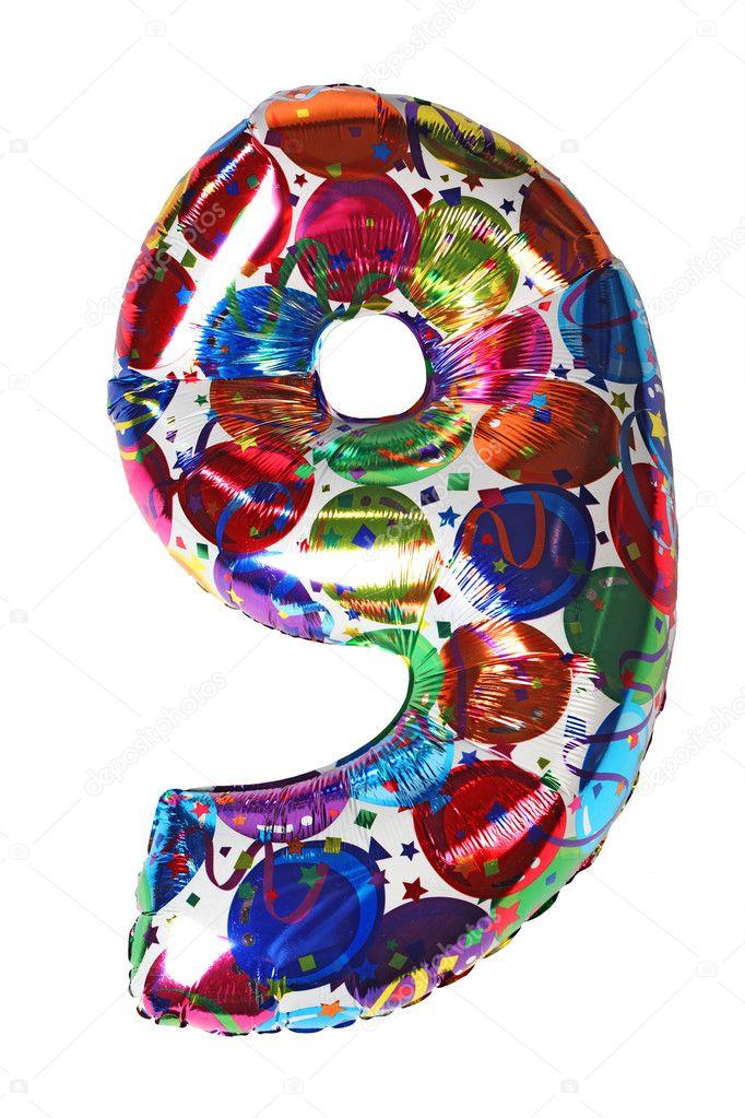 bunte gelium ballon shape nummer neun f r geburtstag promi stockfoto paha l 7938643. Black Bedroom Furniture Sets. Home Design Ideas
