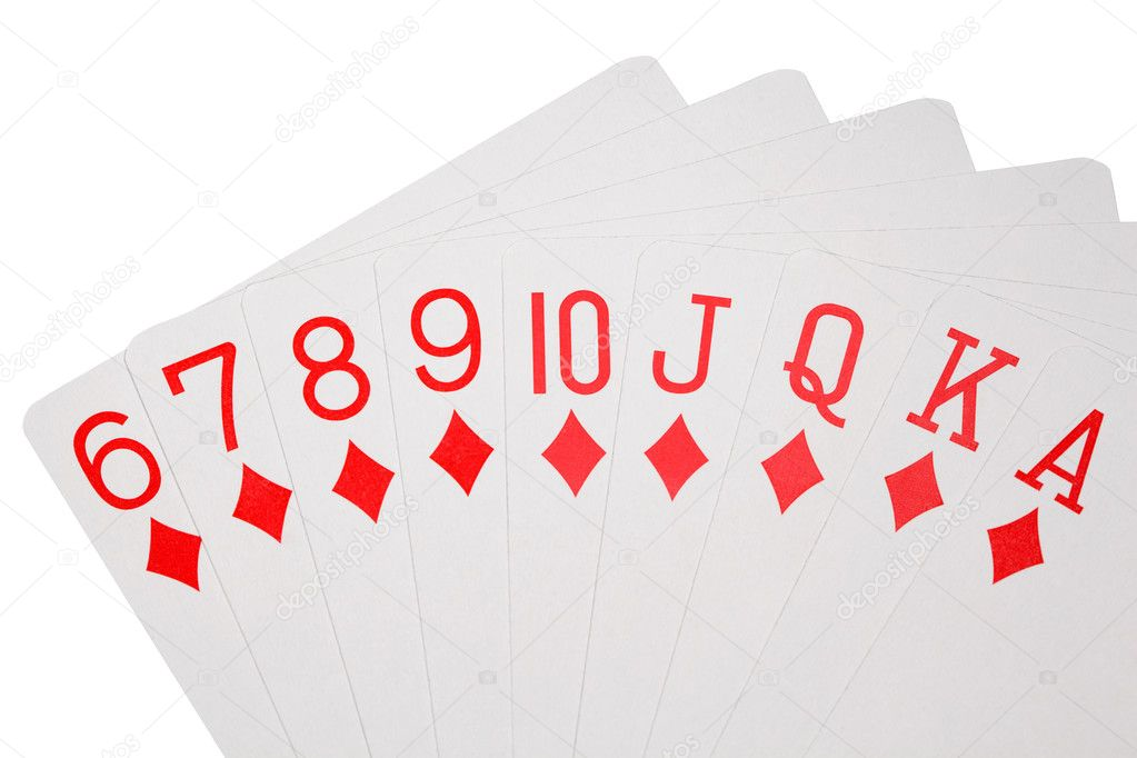 Playing cards of colour of diamonds isolated on white background, deal on increase — Stock Photo #7938928
