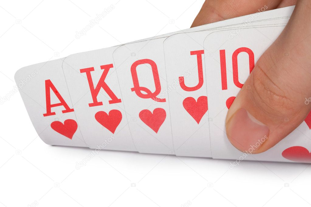 Playing cards of colour of hearts isolated on white background, royal flush of hearts, cards in human hand — Stock Photo #7939065