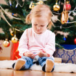 Christmas toddler girl portrait — Stok fotoğraf