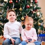 Two kids near Christmas tree — Stock Photo