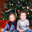 Two kids near Christmas tree — Stock Photo