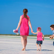 Mother and two kids on vacation — Stock Photo