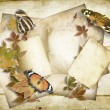 Vintage paper background with old card and  butterflies — Stock Photo